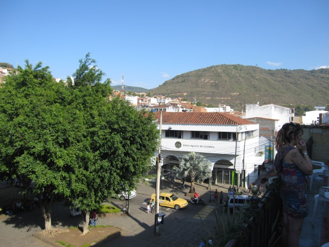 A  view from the Sam's VIP Hostel balcony over the main plaza