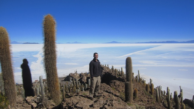 An island of cacti in the middle of the Salar