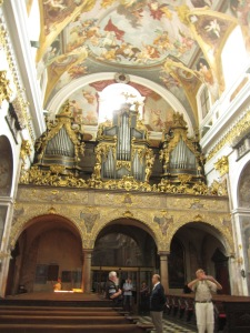 Inside the Cathedral of St. Nicholas in Ljubljana