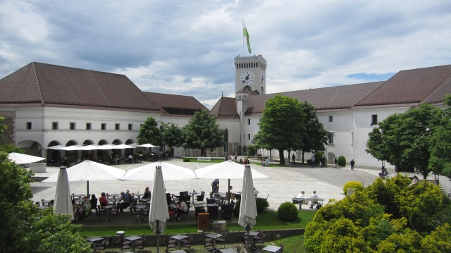 Ljubljana Castle's now modern courtyard